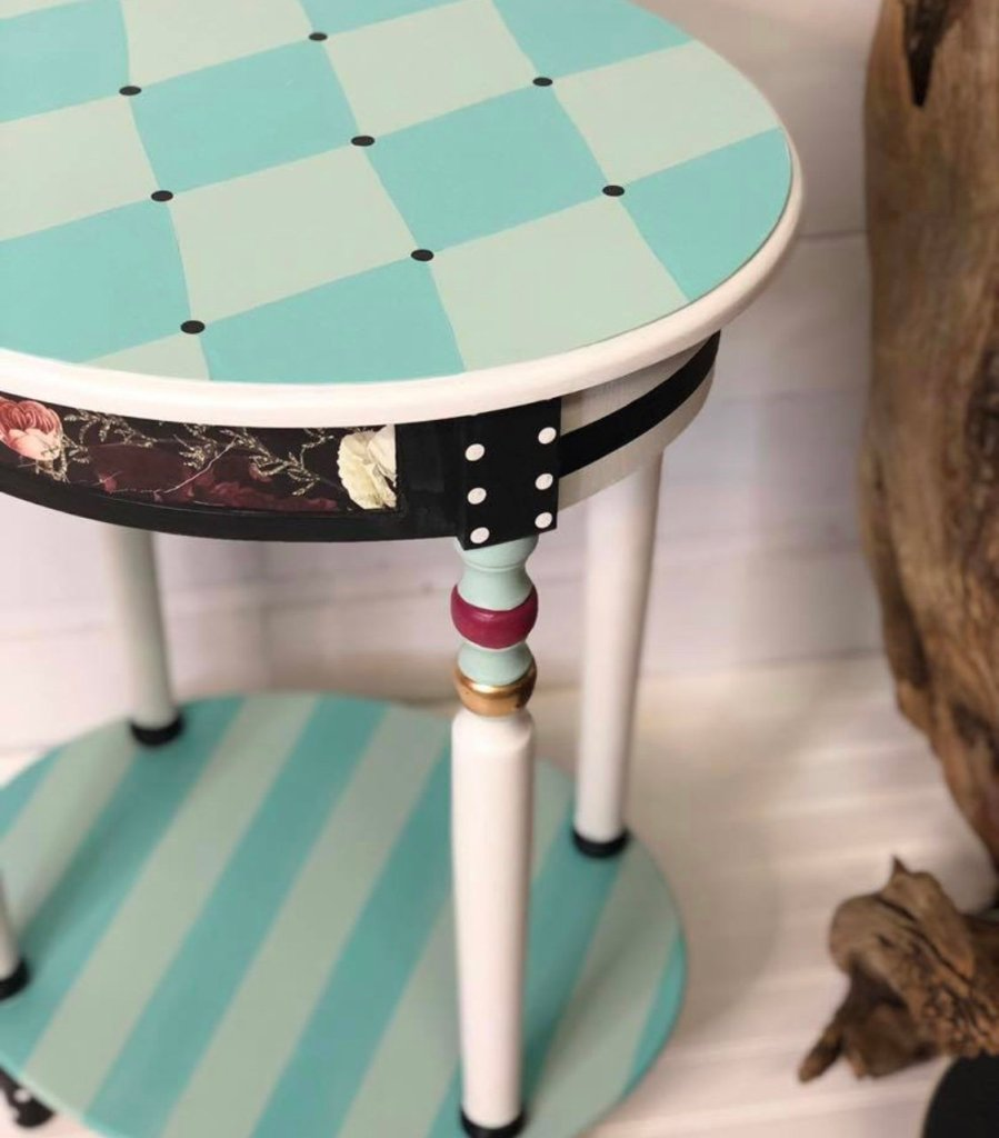 harlequin side table by Traceys Fancy