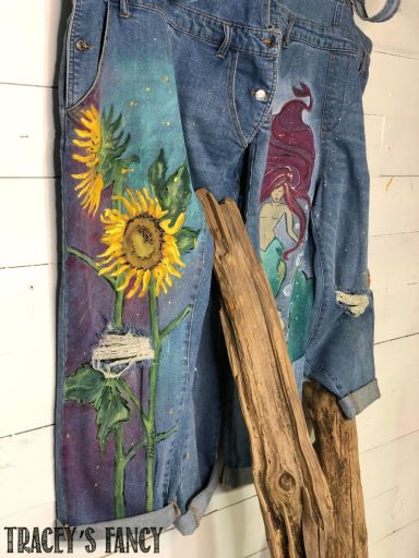 Sunflower and mermaid painted overalls by Tracey's Fancy