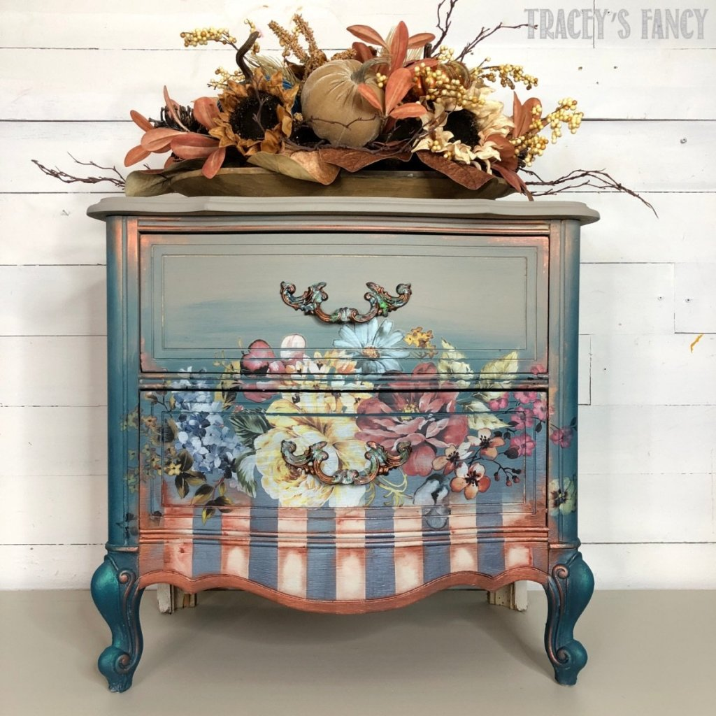 Floral Painted Nightstand by Tracey Fancy
