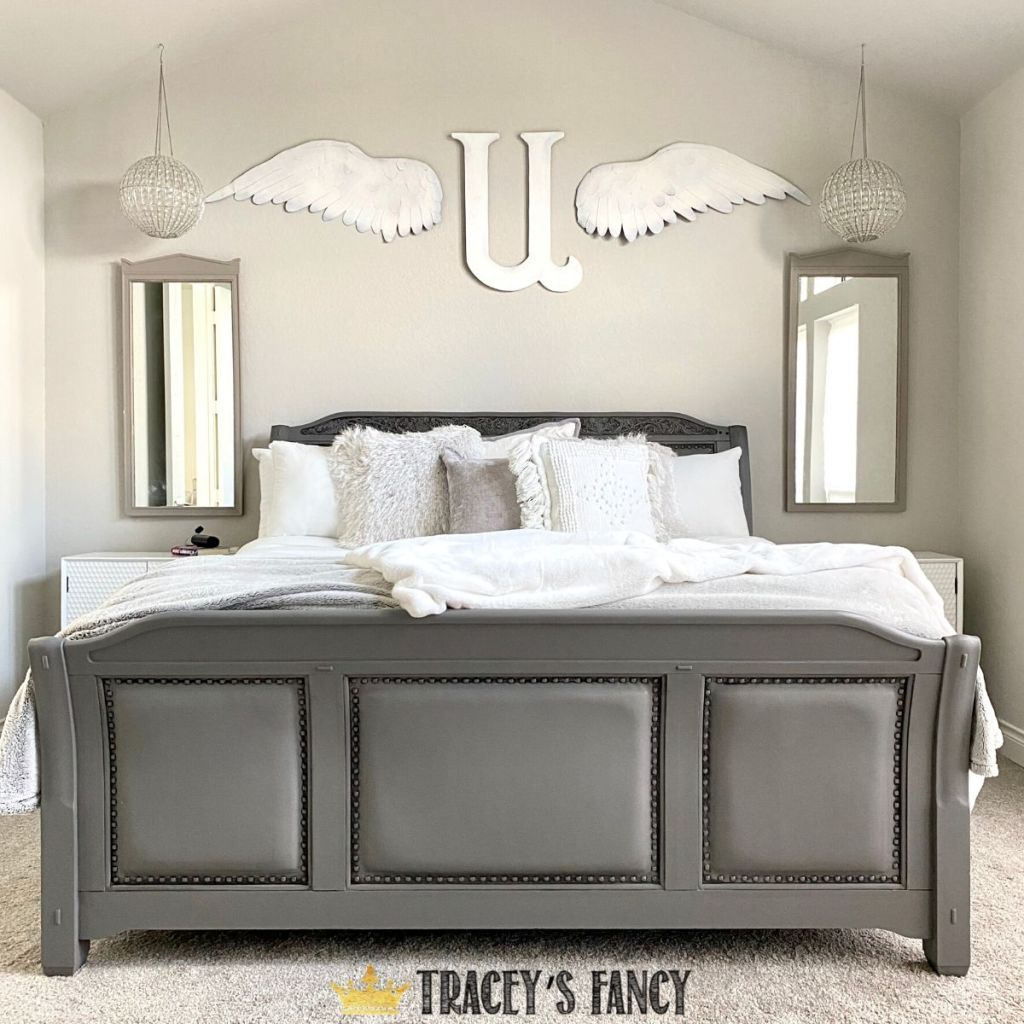gray painted leather and wood bed | Tracey's Fancy