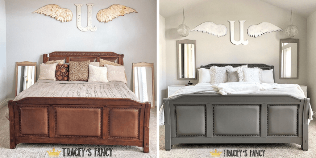 before and after | gray painted leather and wood bed | Tracey's Fancy