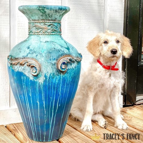 Terracotta plant pot makeover with WoodUBend & patina | Tracey's Fancy