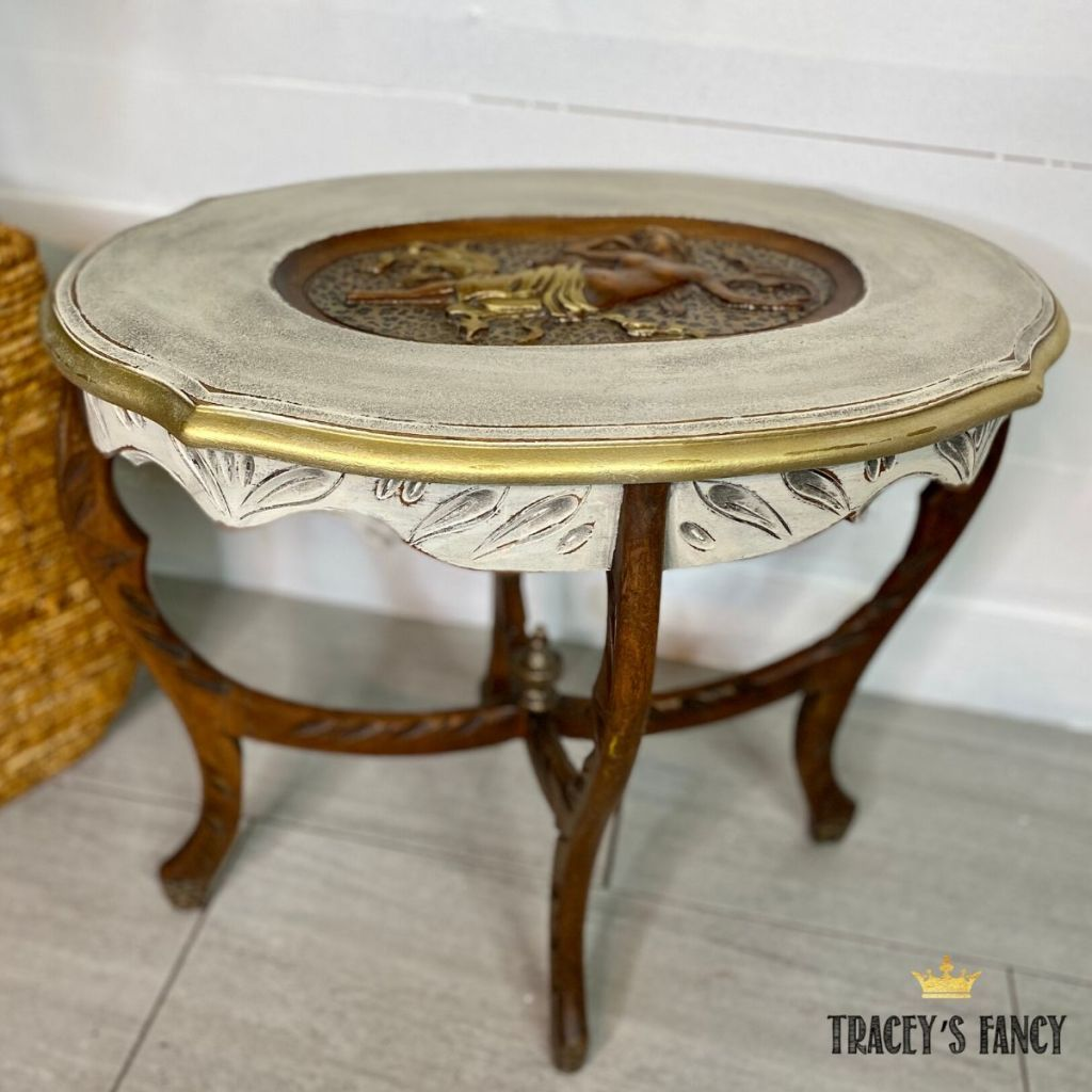 leopard print side table with foil application | Tracey's Fancy