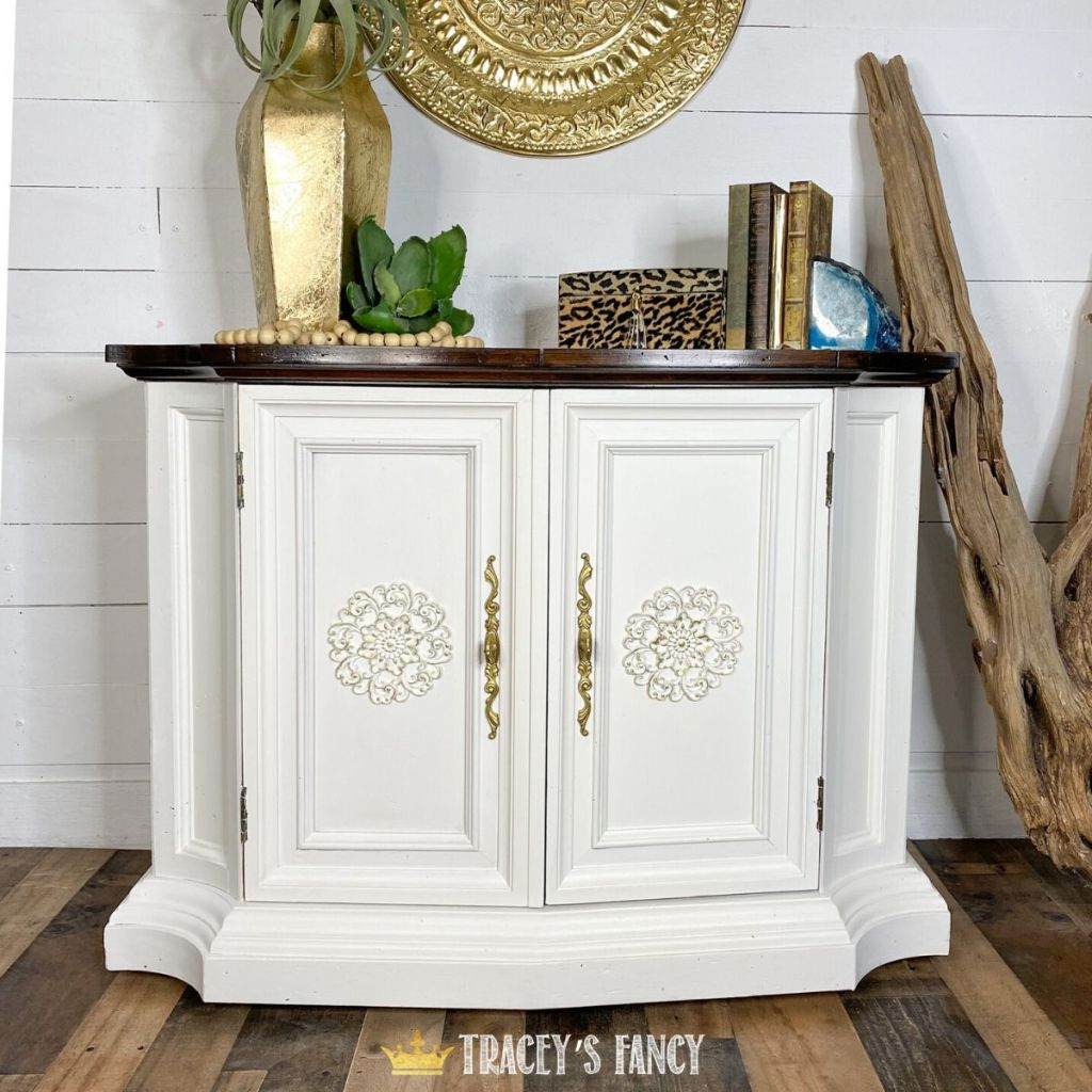 white painted cabinet with a pop of color by Tracey's Fancy
