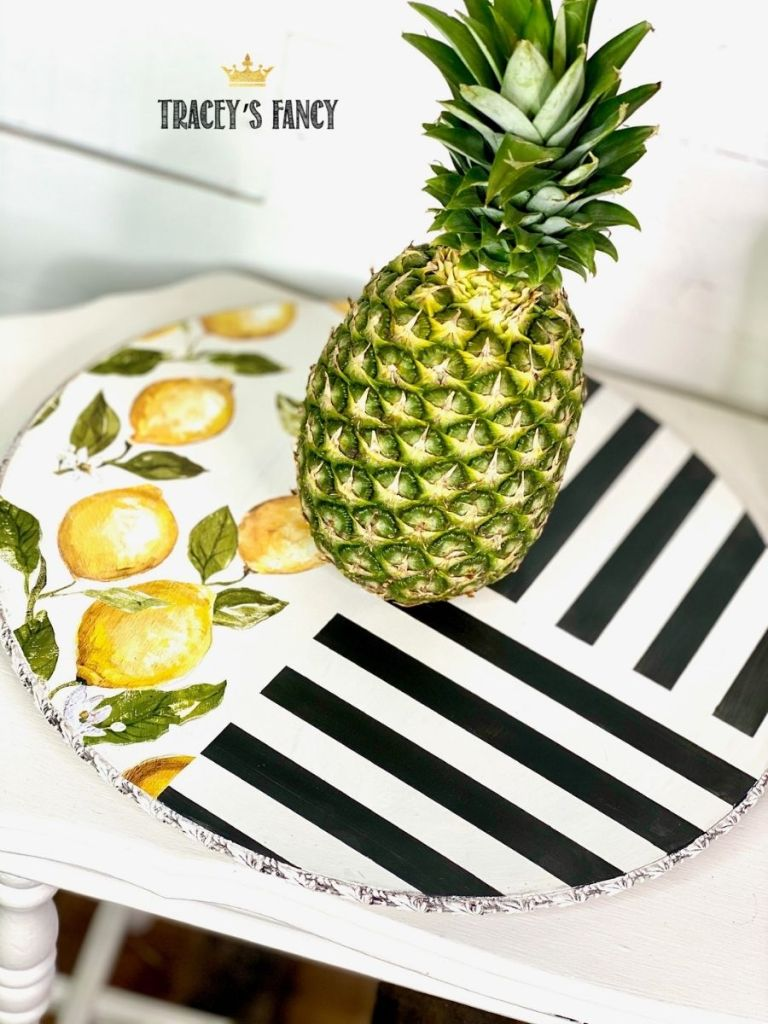 Funky and fun gift idea - lemon striped lazy susan by Tracey's Fancy