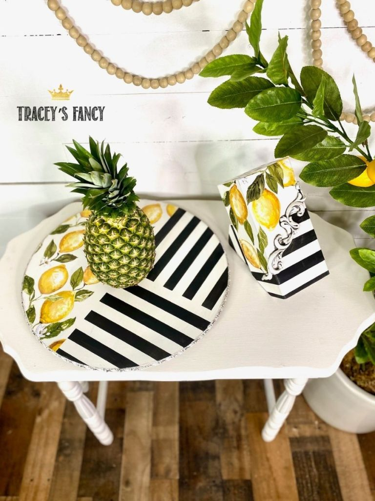 Funky and fun gift idea - lemon striped lazy susan and knife block by Tracey's Fancy