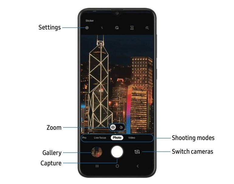 Samsung Galaxy A10e Camera Option