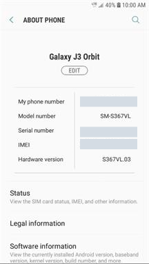 Samsung Galaxy J3 Orbit About Phone