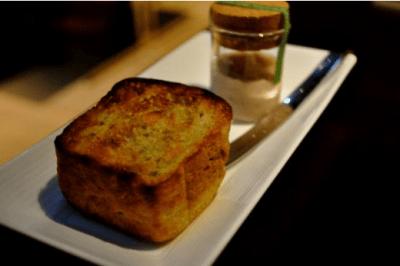 Basil and pine nut bread with Okinawa pork pate