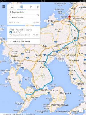 Route from Hakata Station to Nagasaki @ Trachoo.com