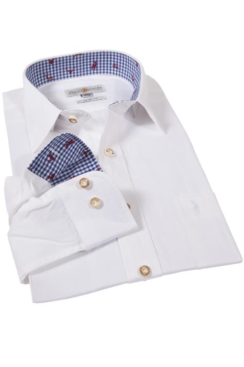 Almsach Hemd mit blau kragen