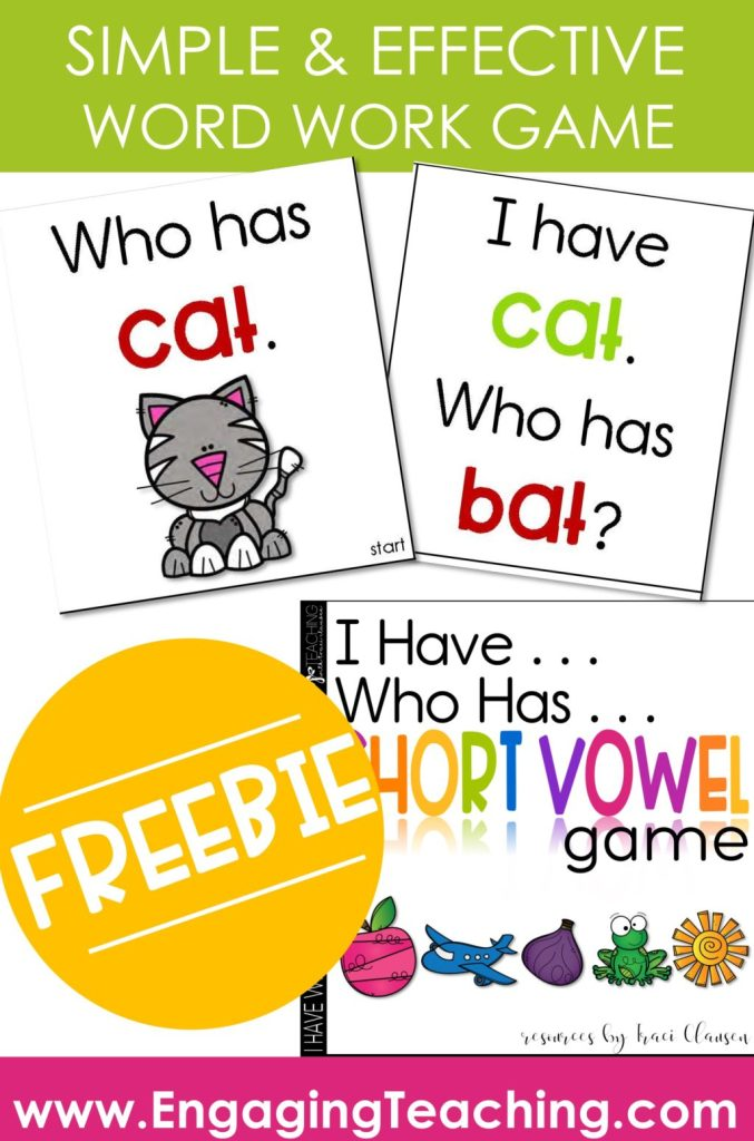 CVC Word Work Game Cards