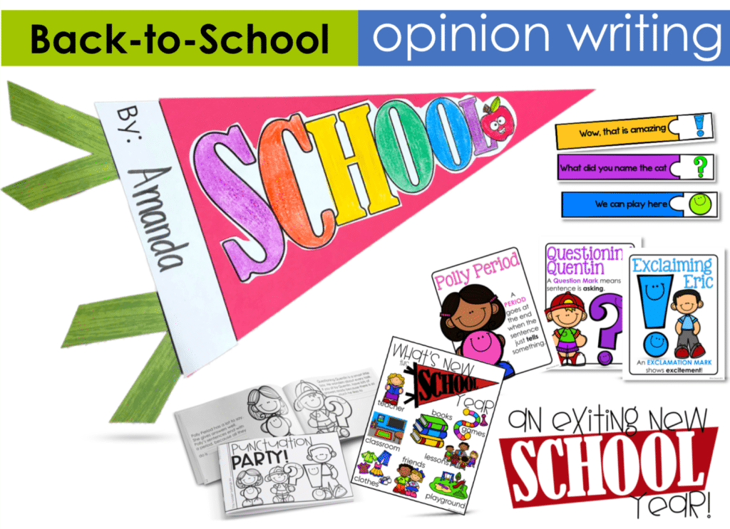 differentiated back to school based opinion writing lesson