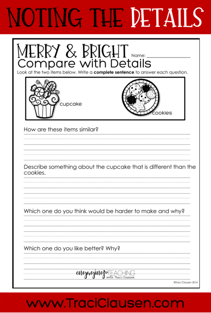 Compare with Details winter worksheet