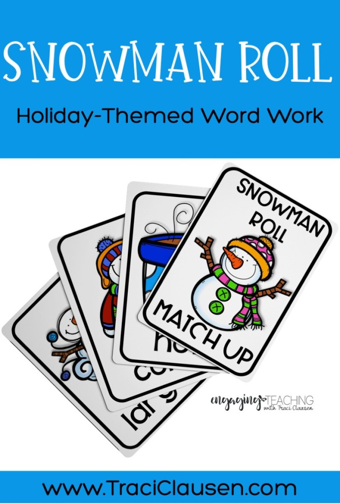 Word Work Cards - Snowman Roll