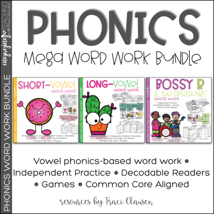 Phonics Mega Word Work Bundle Cover
