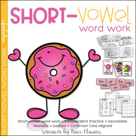 short vowel word work resource cover
