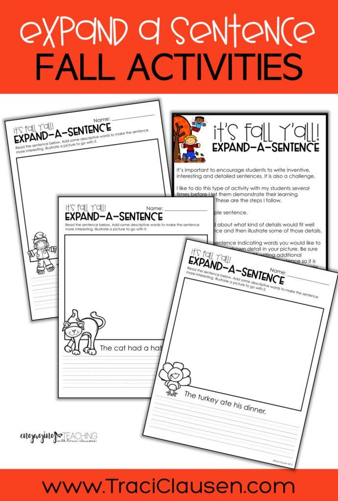 expand a sentence sheets
