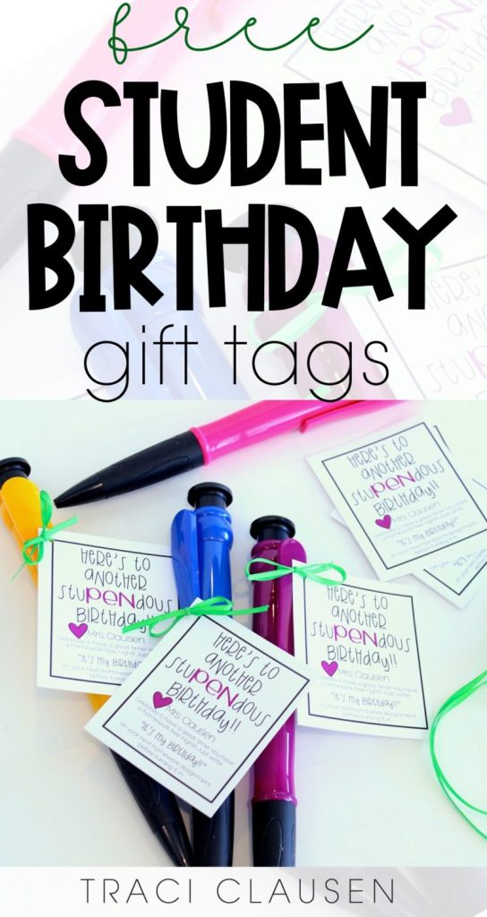 Birthday gift tags and jumbo pens