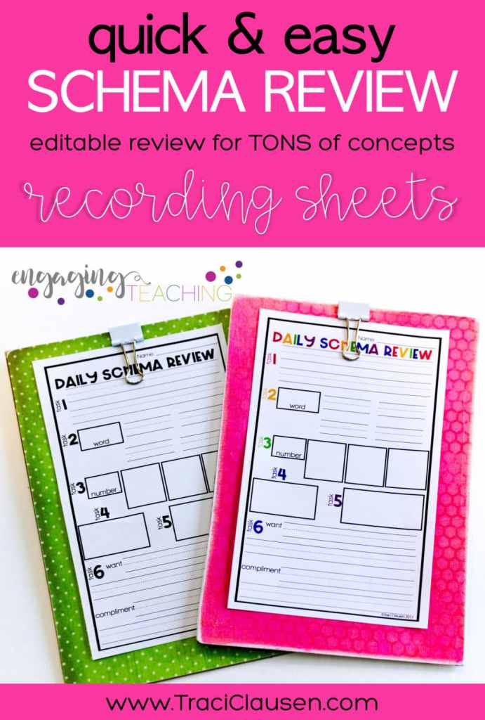Schema Review Recording Sheets