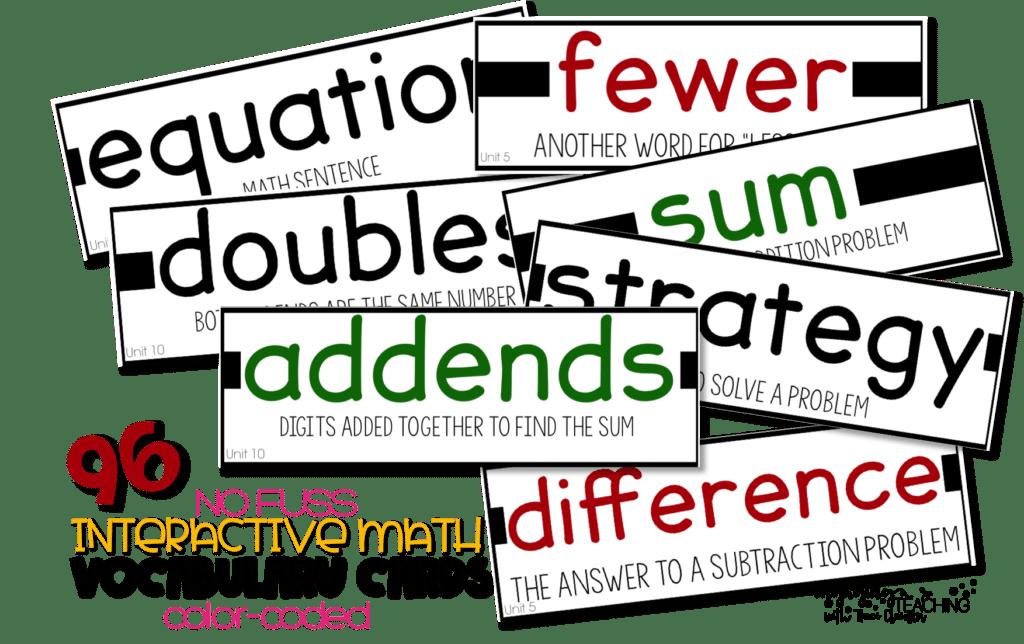 No Fuss math vocabulary cards