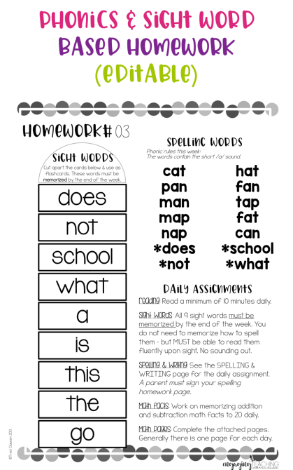 Phonics and Sight Word Based Homework