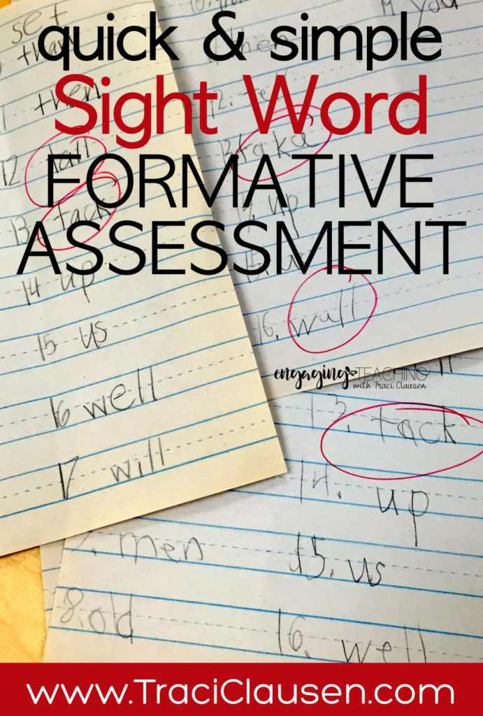 Quick sight word formative assessment