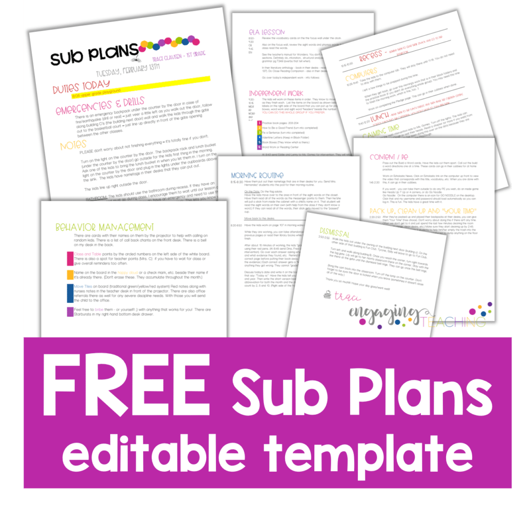 FREE sub plans template @EngagingTeaching.com
