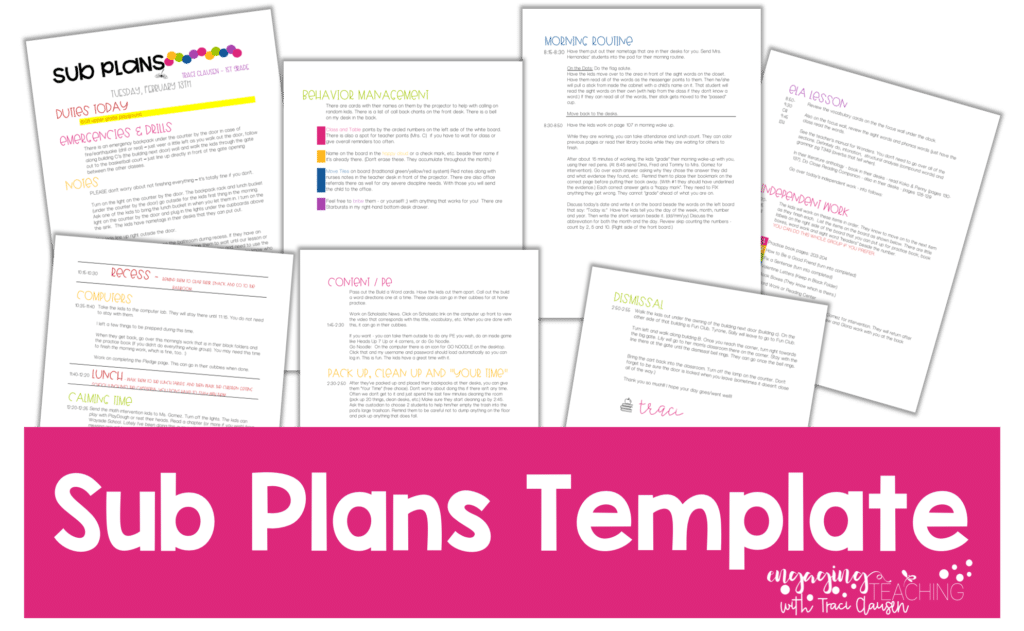 FREE Sub Plans Template From EngagingTeaching.com
