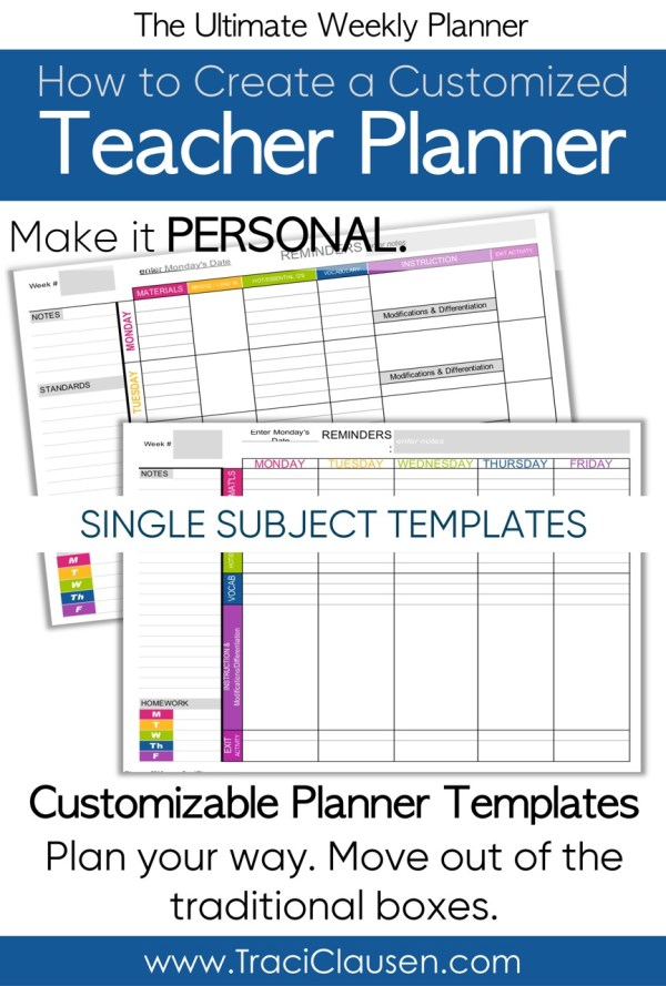 Single Subject Teacher Planner