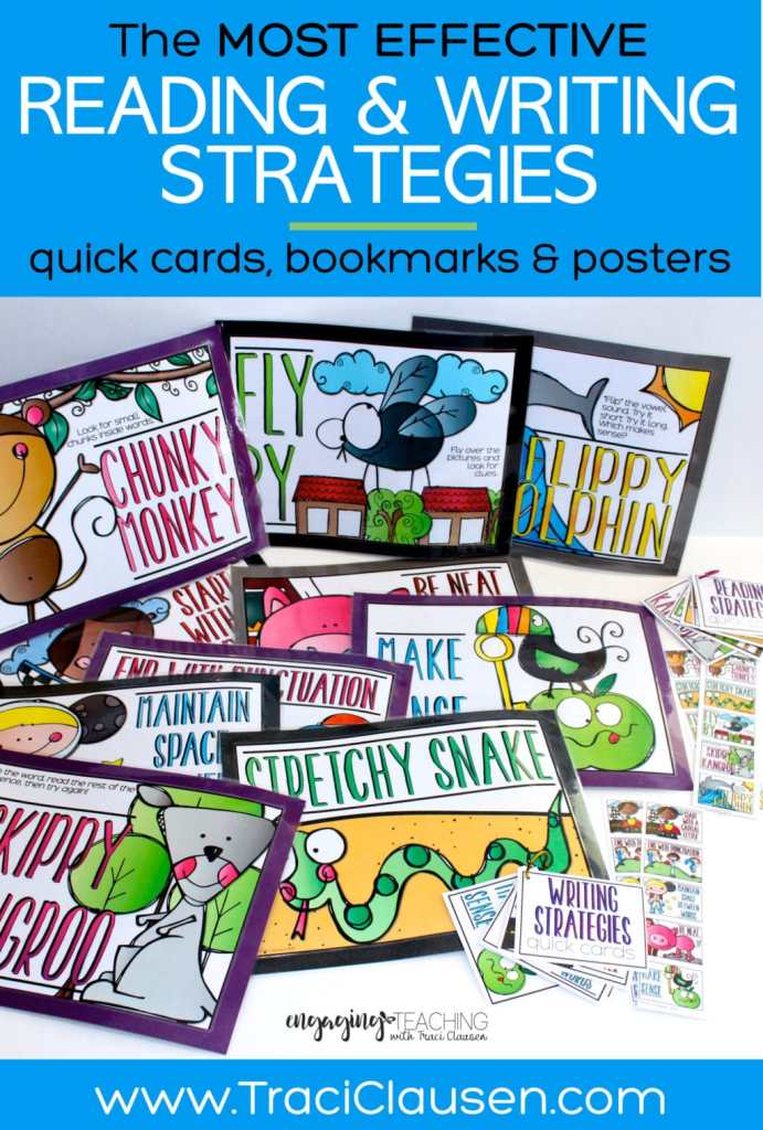 Reading and Writing Strategies posters bookmarks and quick cards