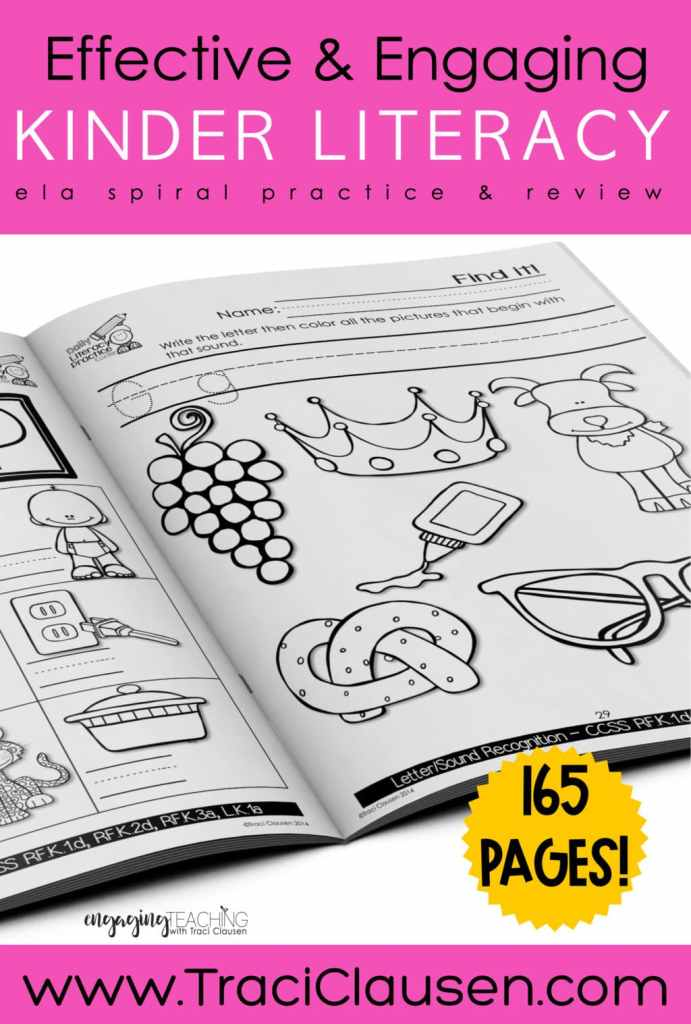 Daily Literacy Practice Letter page