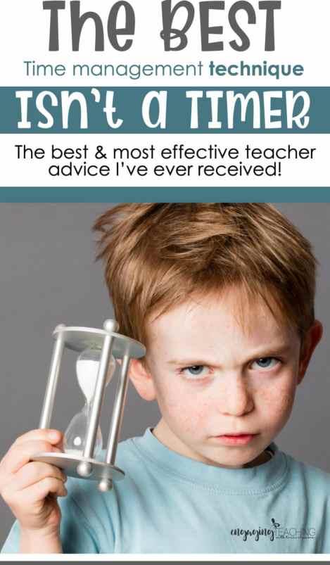 Boy holding an egg timer with best teacher advice heading