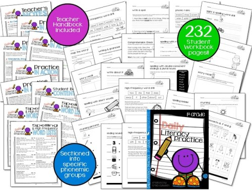 samples of pages from Daily Literacy Practice