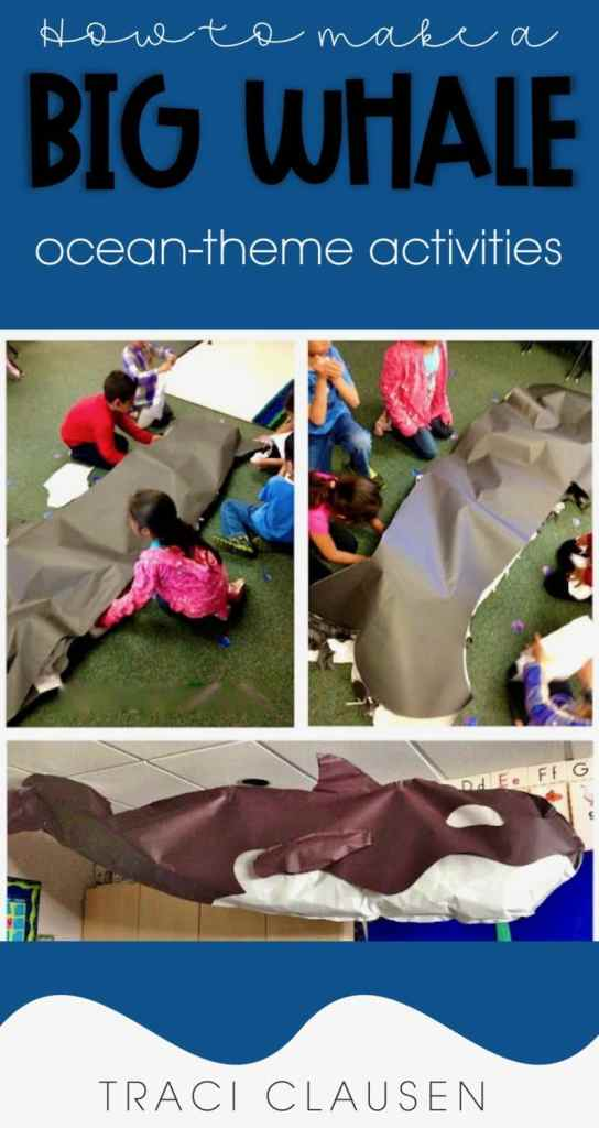 students creating a huge butcher paper whale