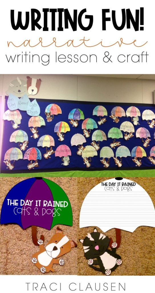 Bulletin board pieces for The Day it Rained Cats & Dogs