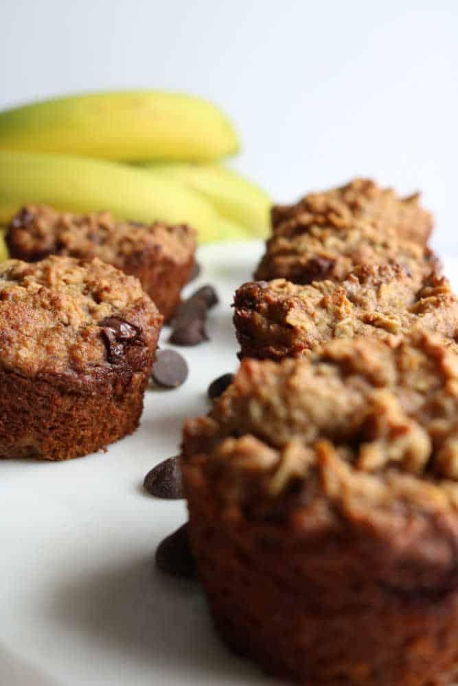 Banana oatmeal chip muffins