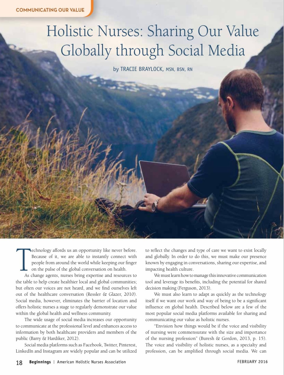Holistic Nurses Sharing Our Value Globally through Social Media   Tracie Braylock