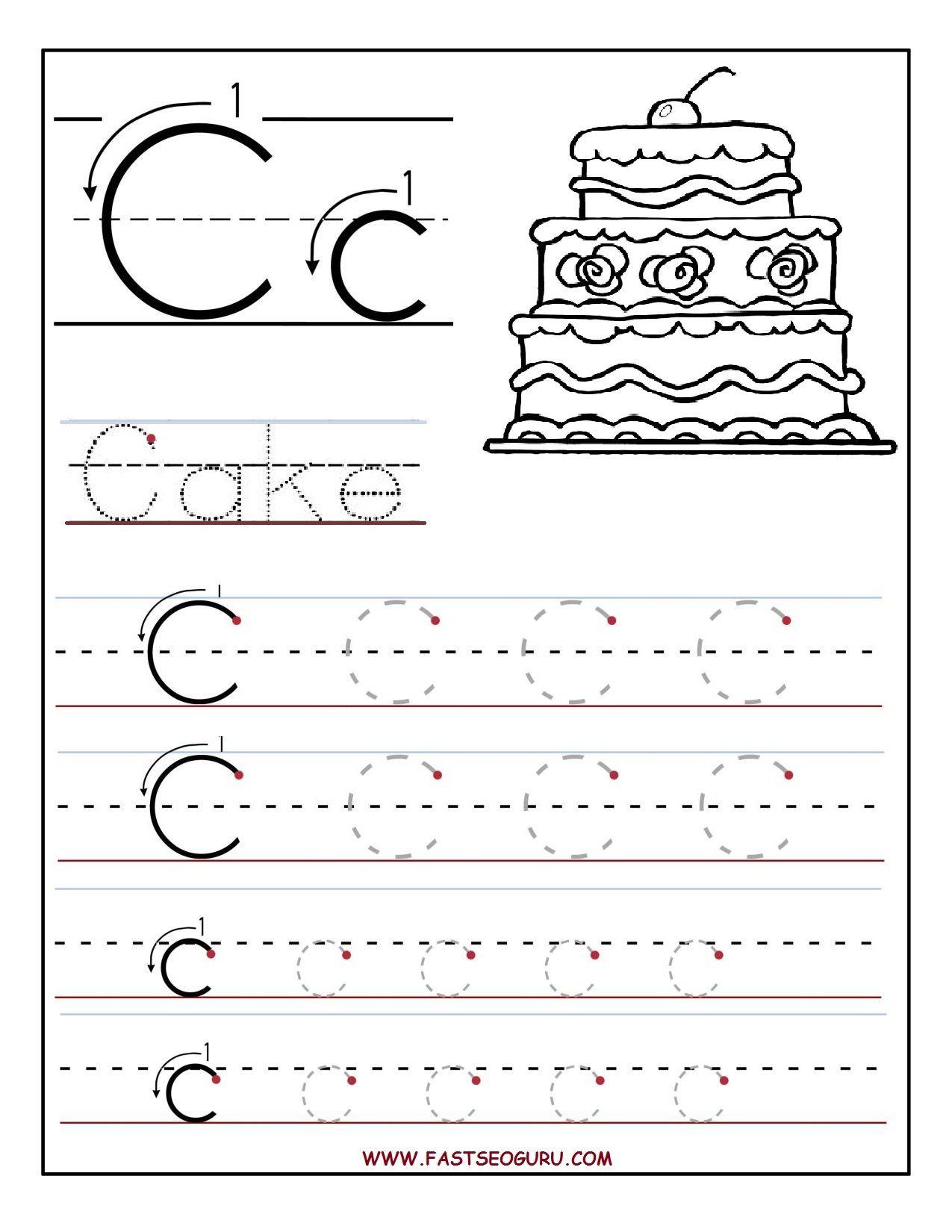 C Letter Tracing Worksheet