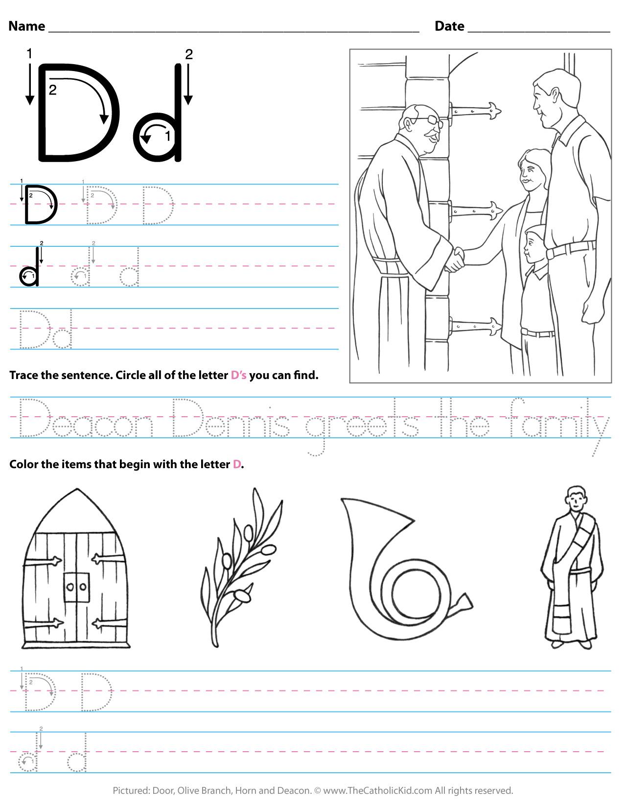 Trace Letter D Worksheets Preschool