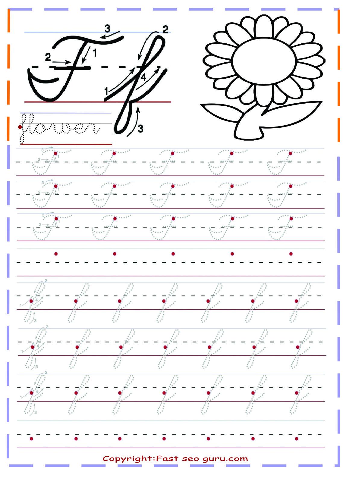 Letter Tracing Worksheets Cursive