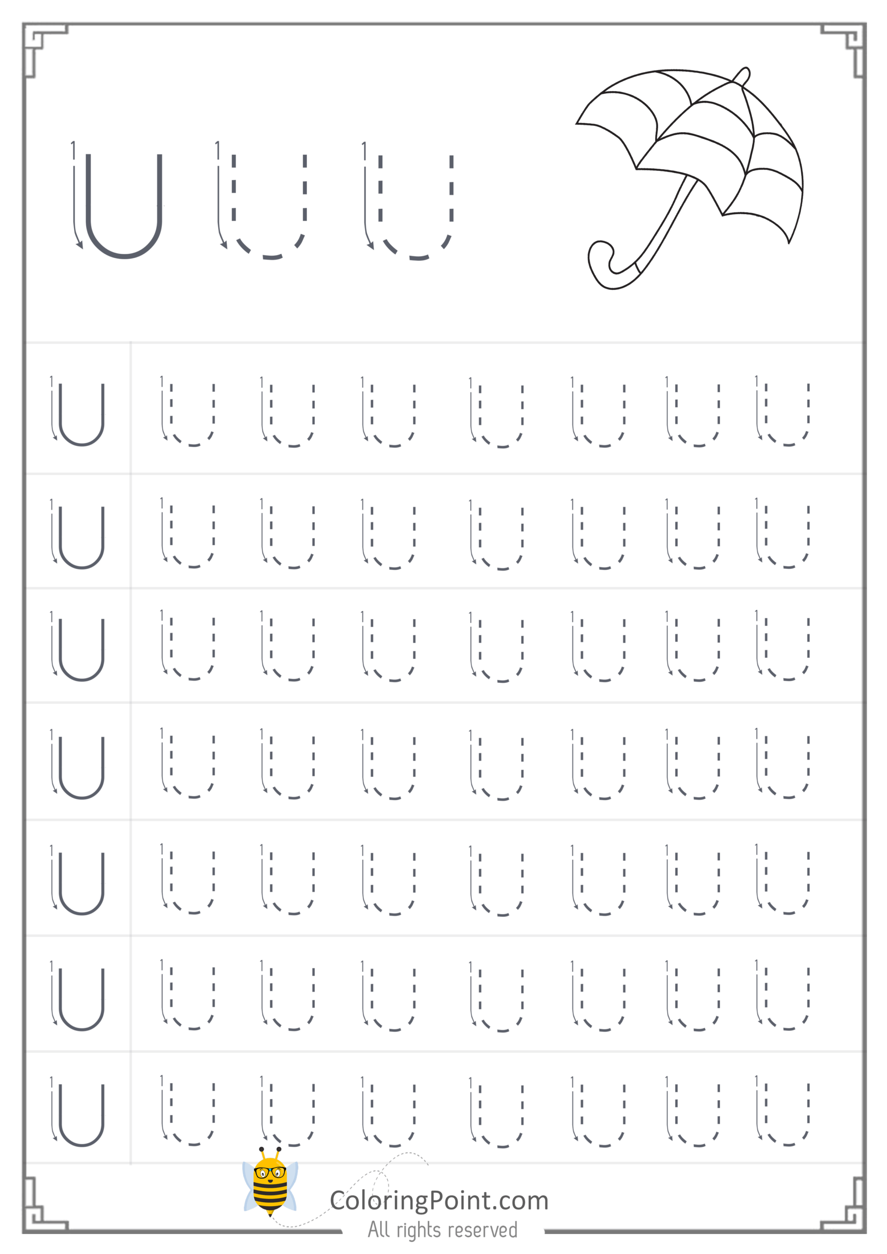 Tracing Letter Worksheets Preschool Free
