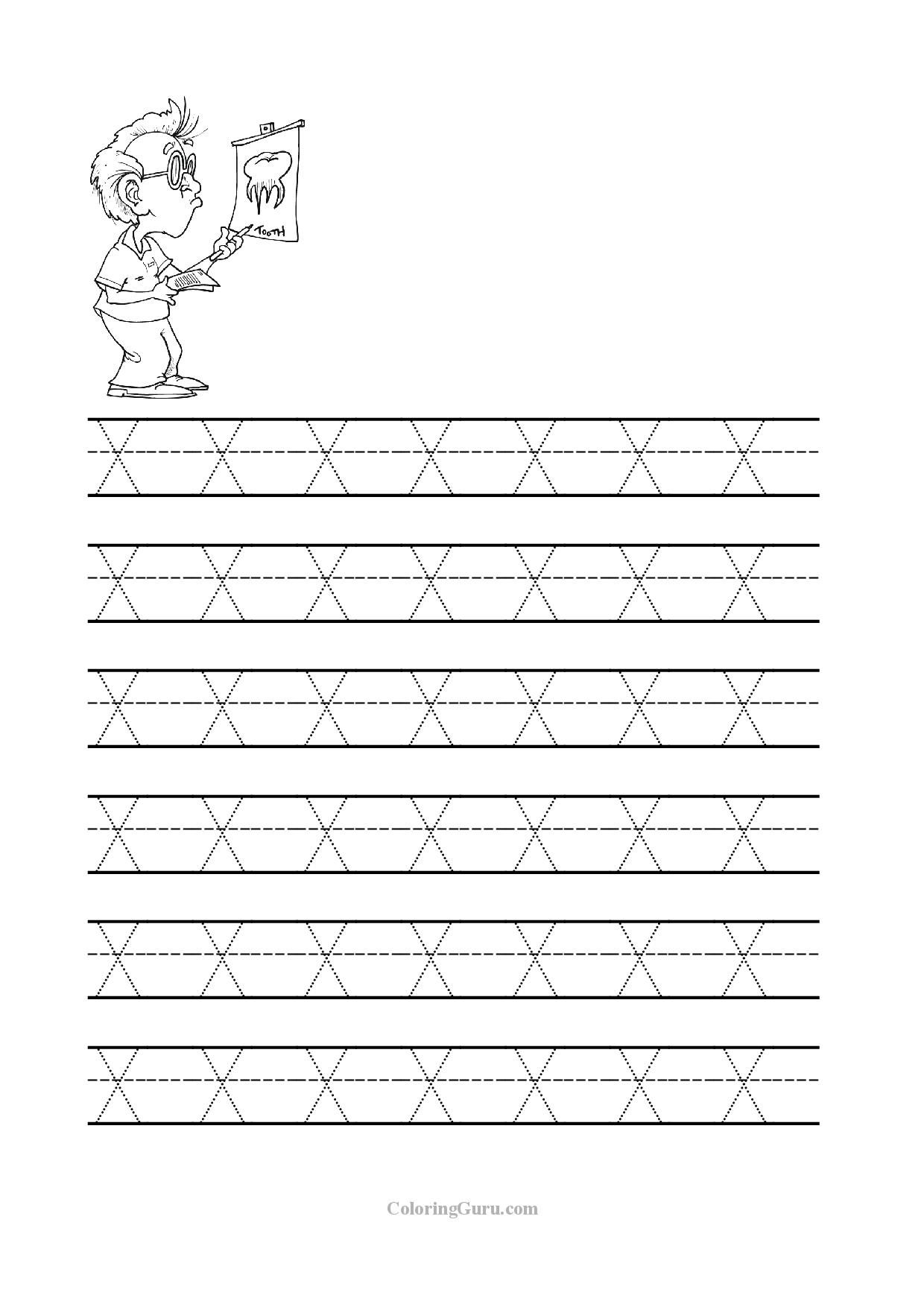 Tracing Letter X Worksheets