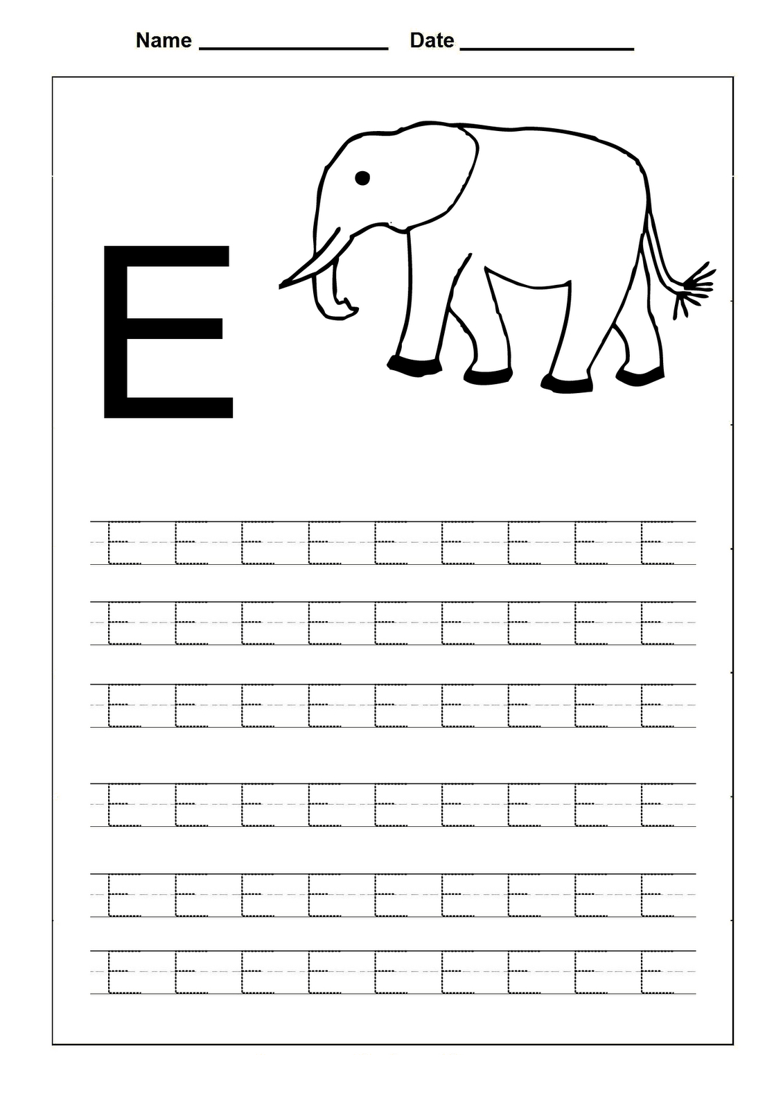 Tracing Letter E Worksheets