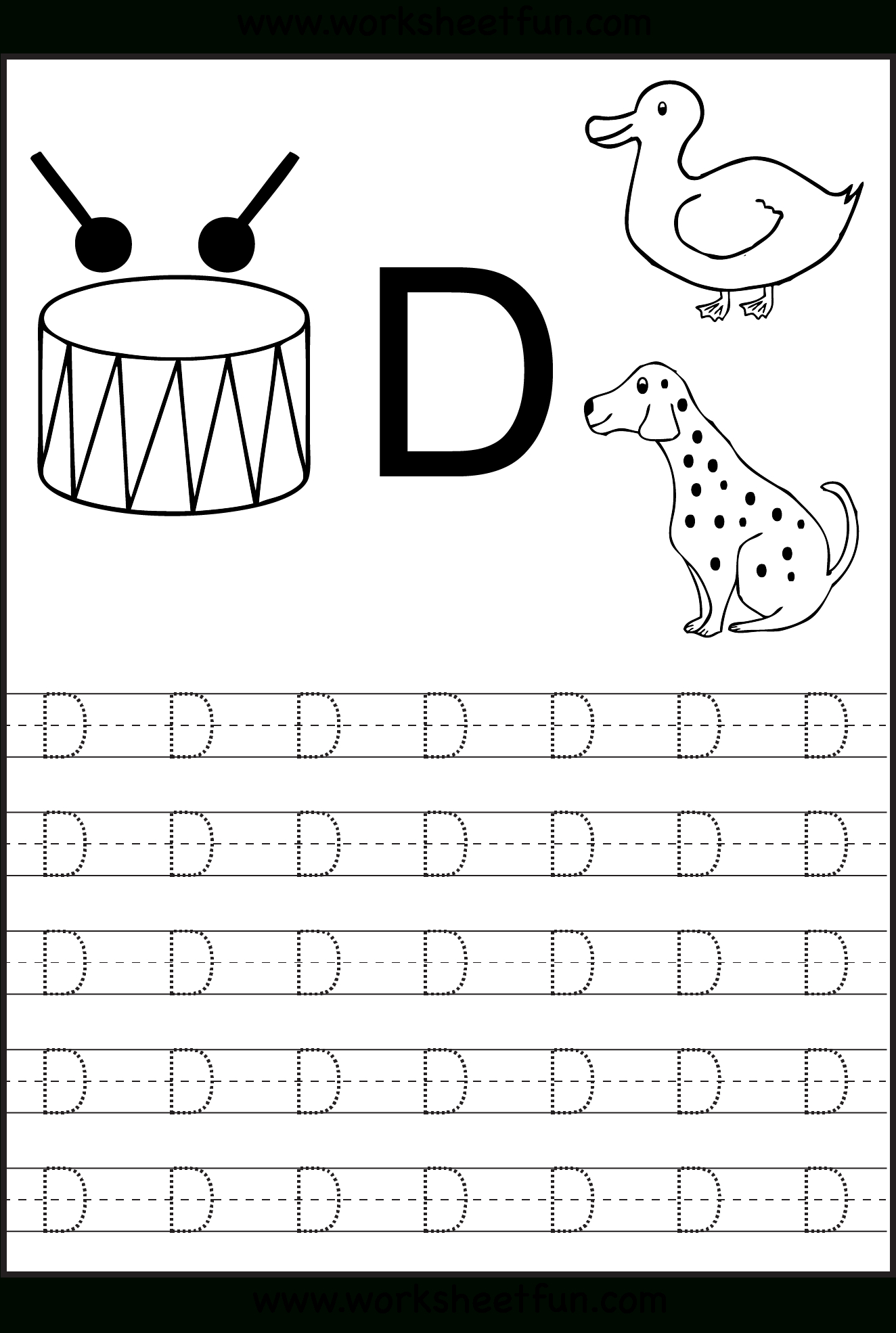 Trace Letter D Worksheets Preschool