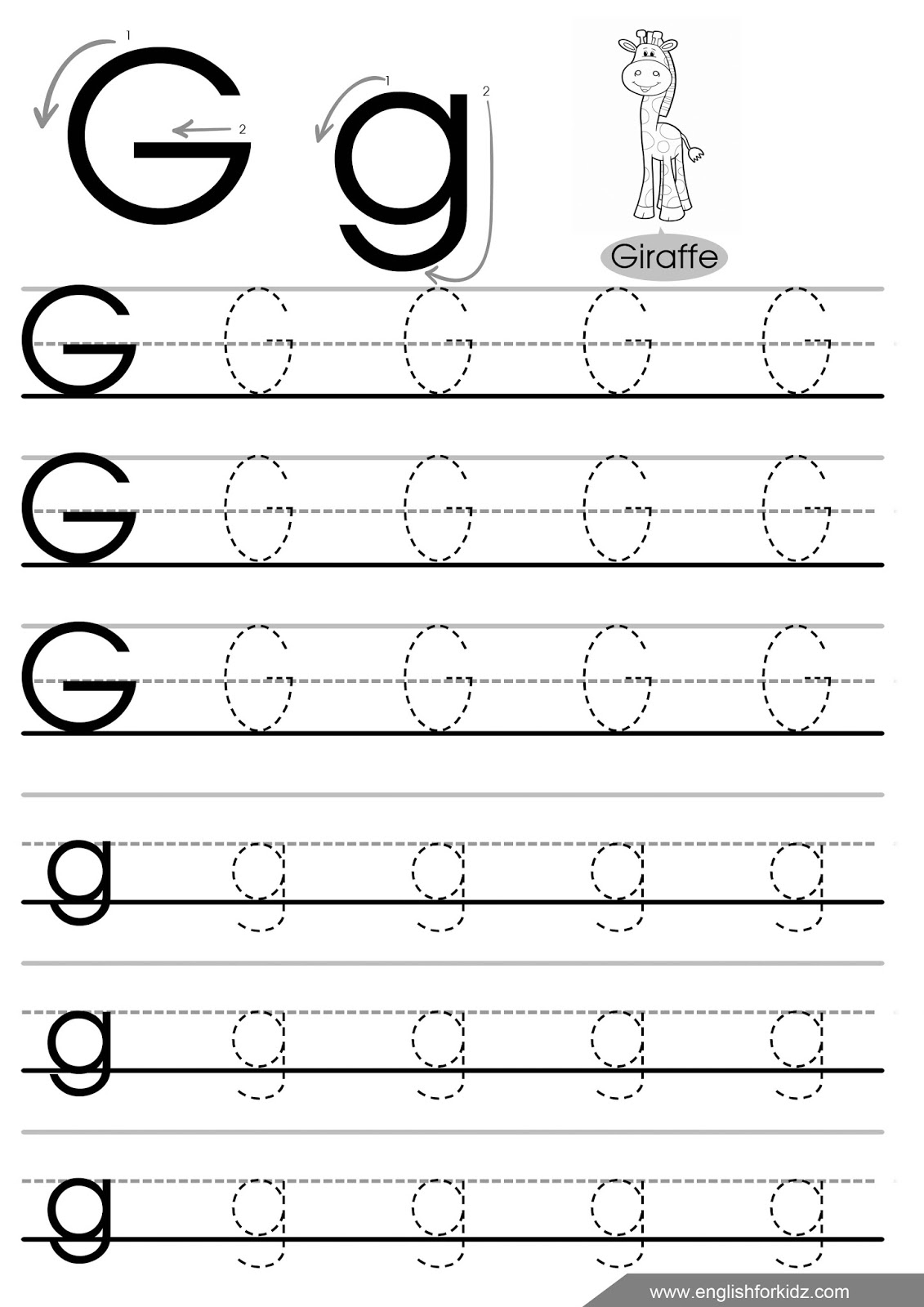 G Letter Tracing Worksheet