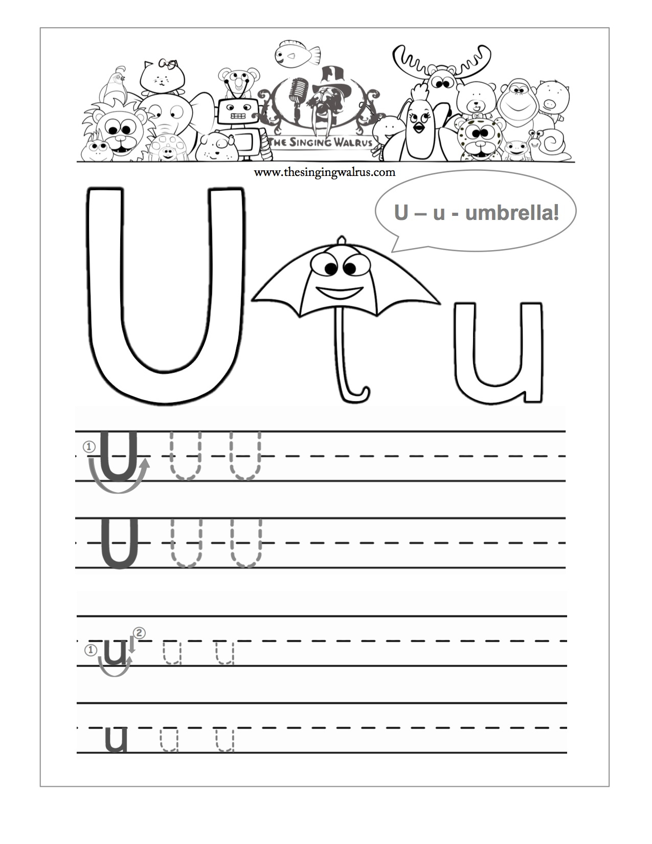 Tracing Letter U Worksheets