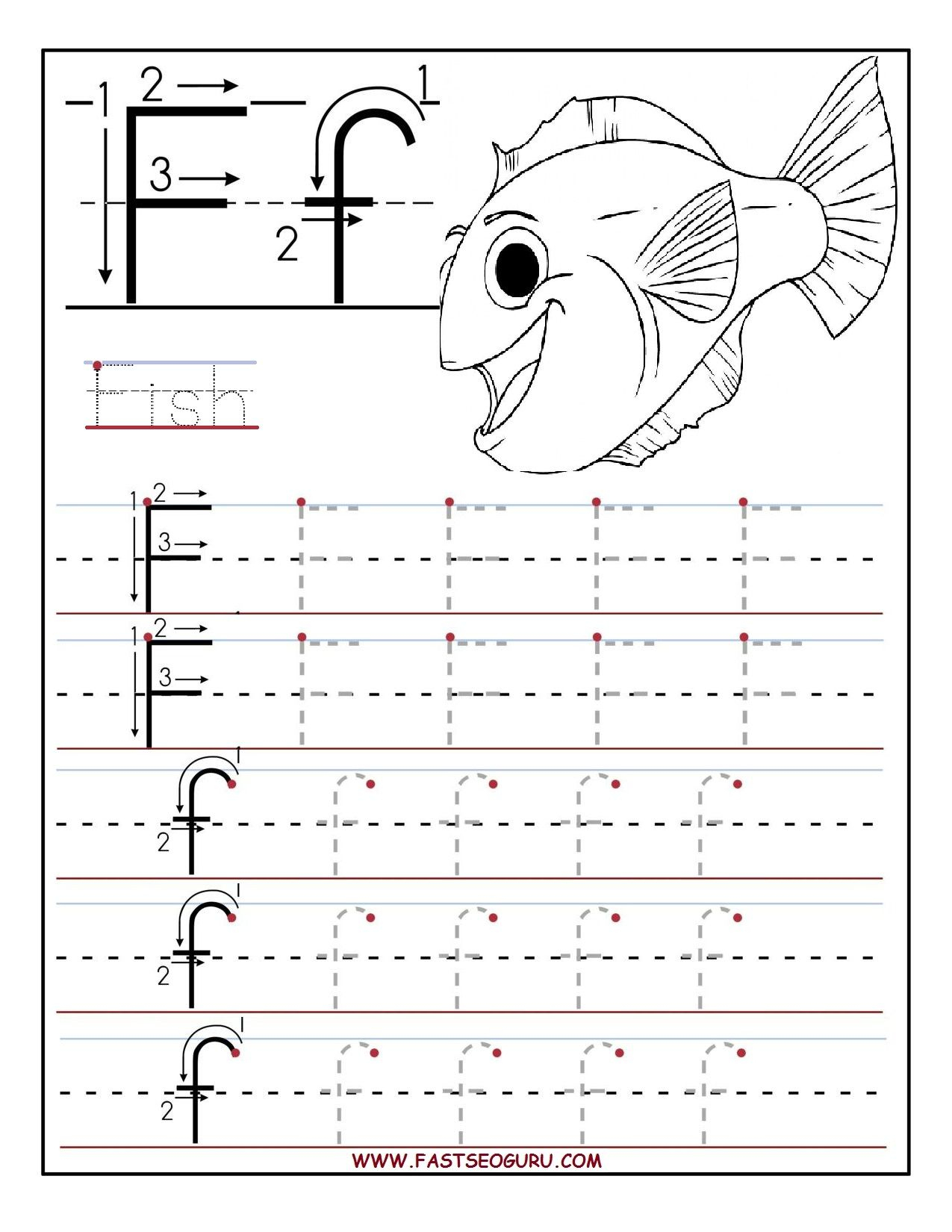 Tracing Letter F Worksheets