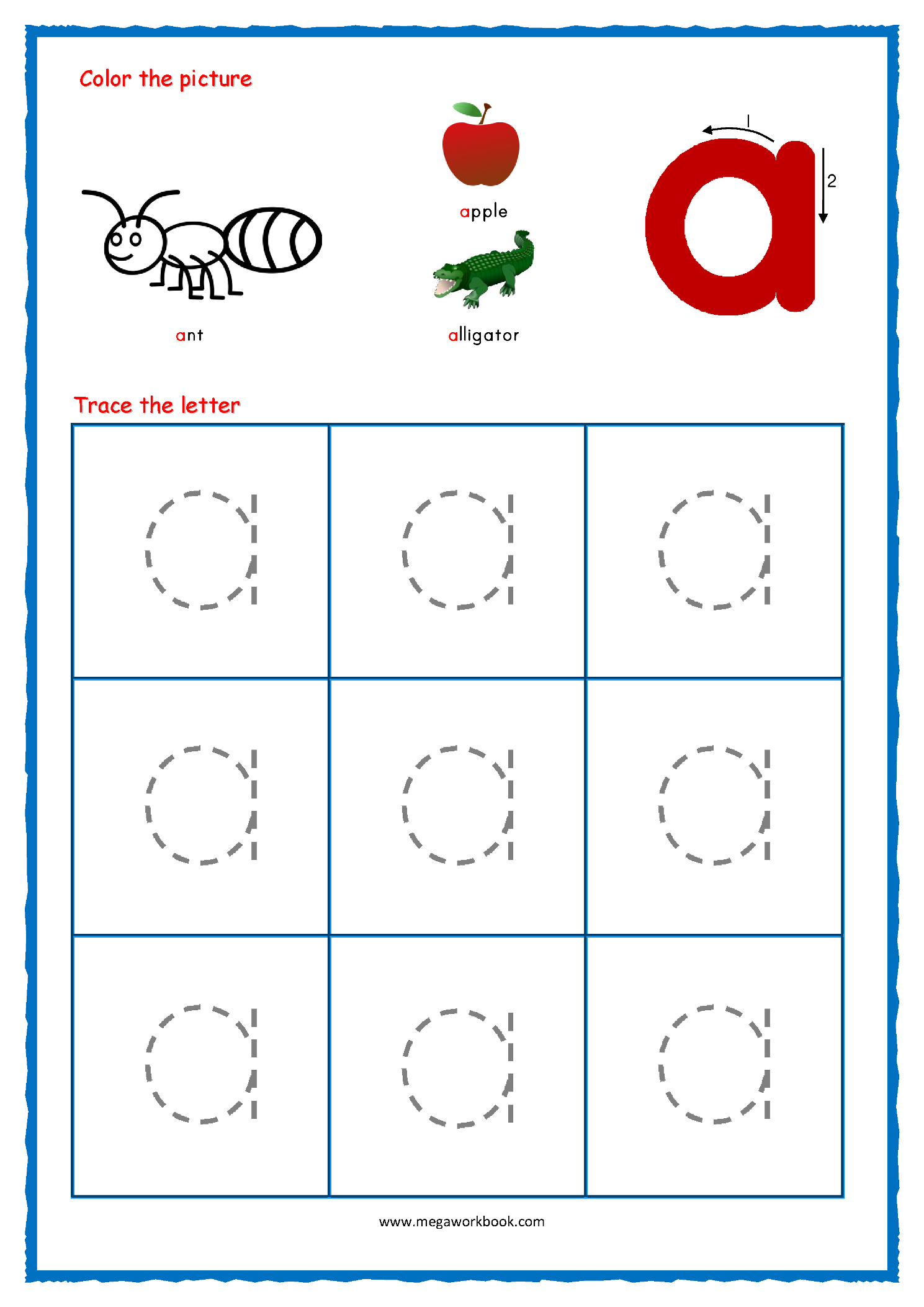 Tracing Lowercase Letters Az