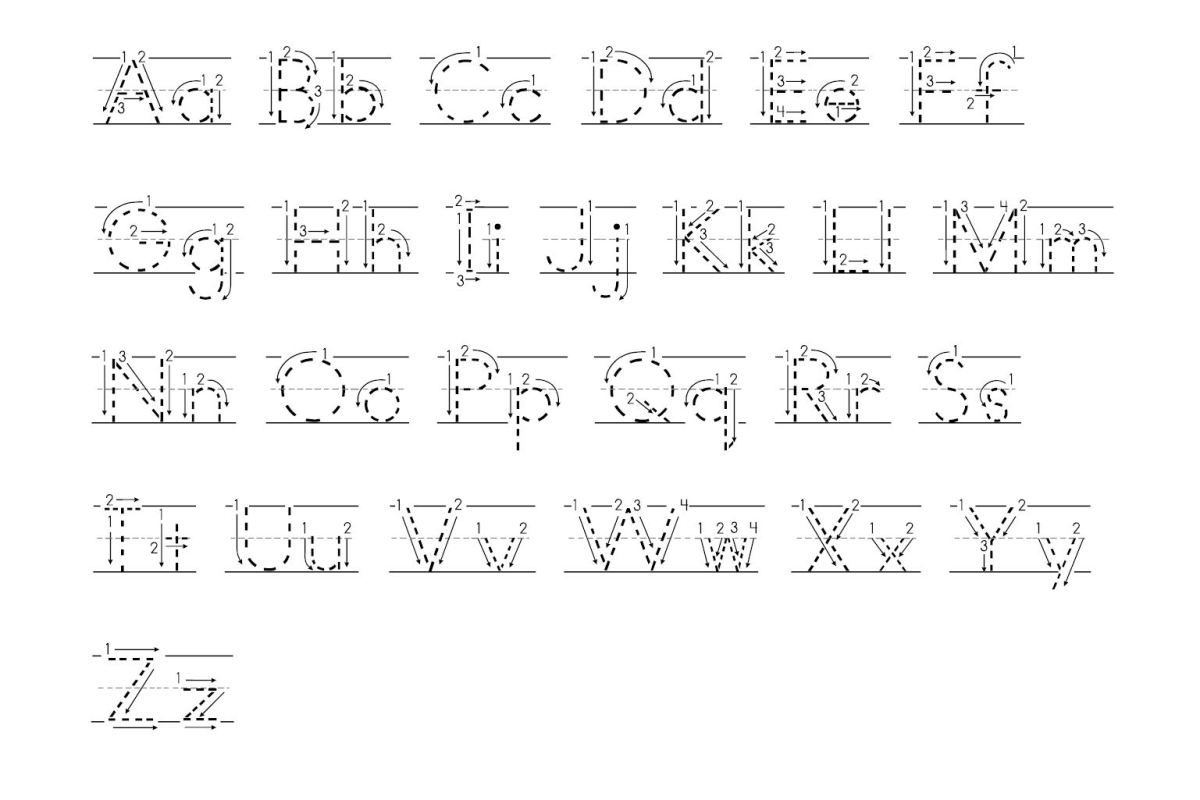 Free Tracing Letters With Directional Arrows